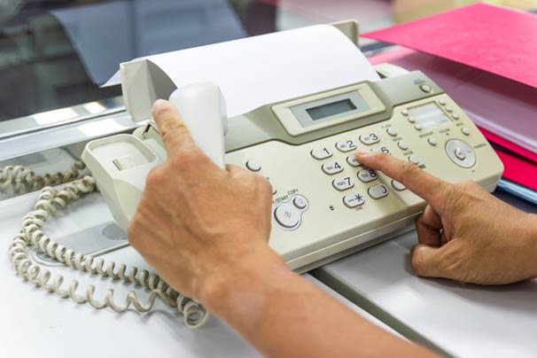 Dialing on fax machine