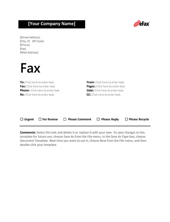 image about Printable Fax Cover Sheets named Seek the services of a Customized Fax Include Sheet with On the net Faxing - eFax®