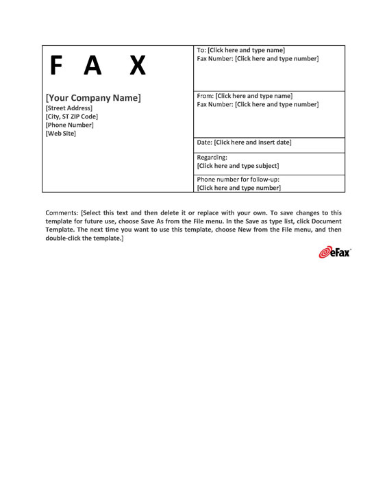 Fax Cover Template | Use A Custom Fax Cover Sheet With Online Faxing Efax