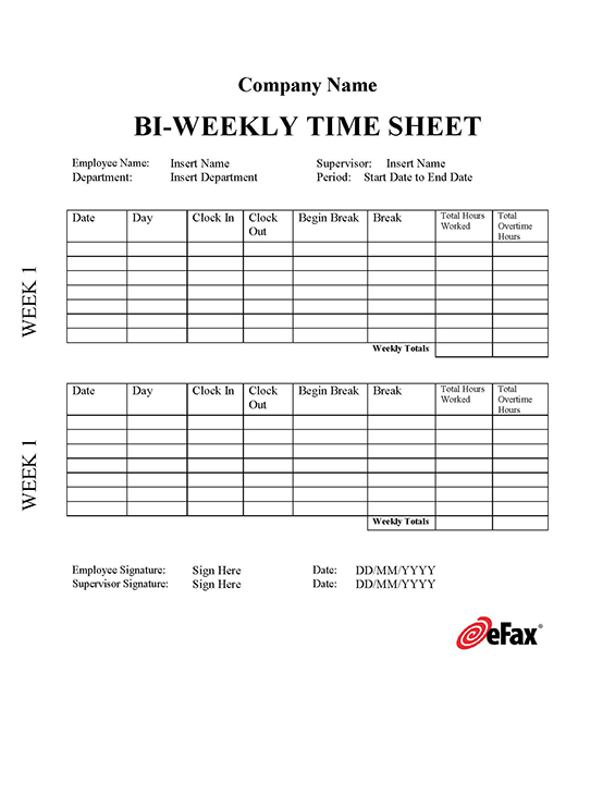 Pre formatted fax templates efax timesheet 2 maxwellsz